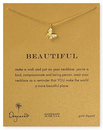 Dogeared 14K Gold Dipped Butterfly Necklace, 16"