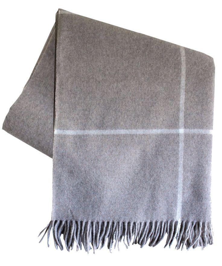 Italian Cashmere Throw Blanket, Taupe Windowpane