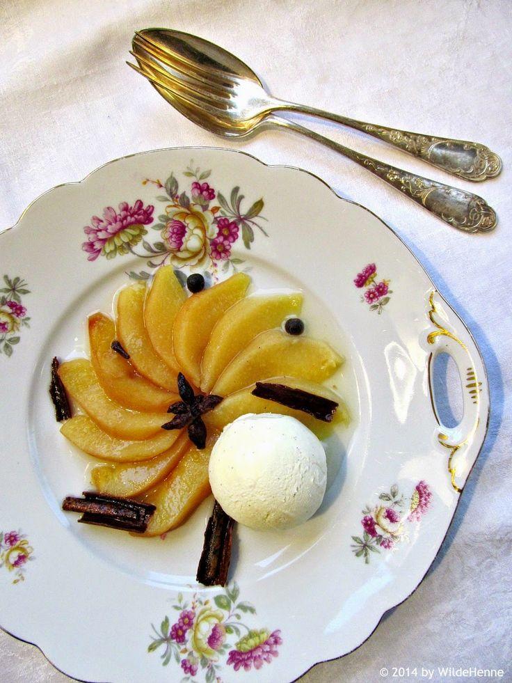 Wildes Poulet: Ein Teller geht auf Reisen - Gewürzquitten mit Vanilleeis und Kindheitserinnerungen