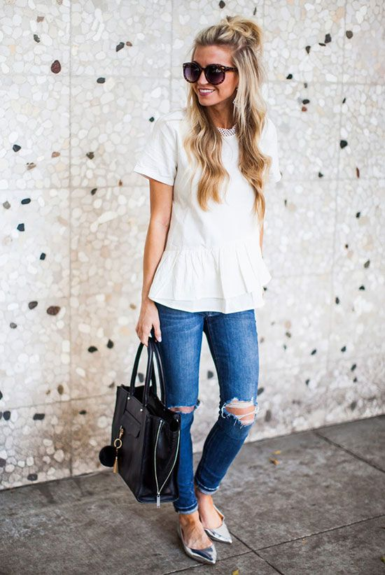 spring / summer - spring fashion - summer fashion - spring outfits - summer outfits - street style - street chic style - casual outfits - white peplum skirt, skinny jeans, silver pointy toe flats, black handbag, brown round sunglasses
