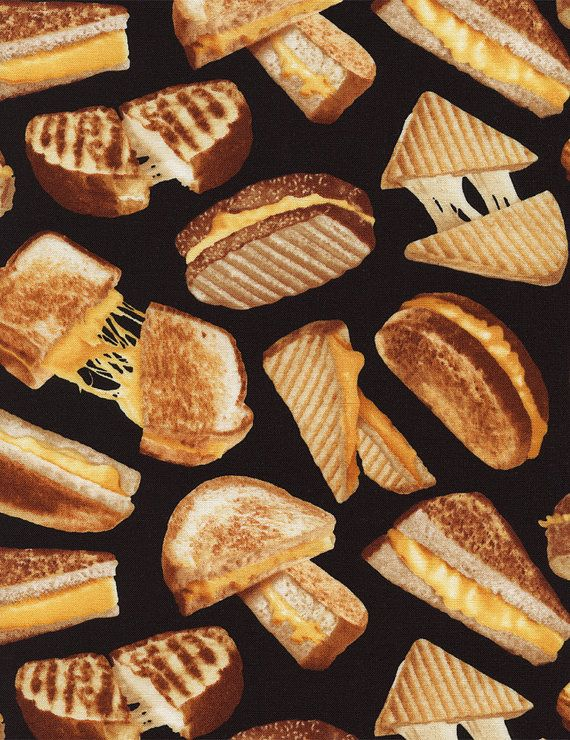 Grilled Cheese Sandwich fabric in black, by Timeless Treasures, part of the Got the Munchies collection.