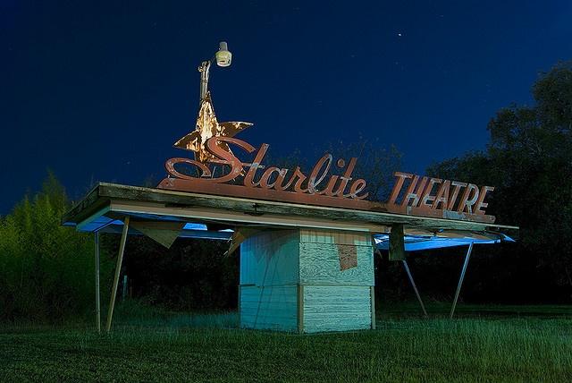 long abandoned Starlite Drive-In  Theatre in Schertz, Texas