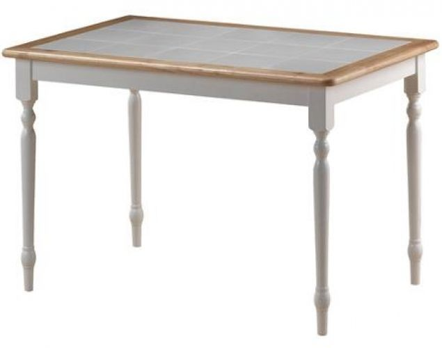 Tile Top Table White Natural Solid Hardwood Natural Wood Color Finish Border #DiningTable