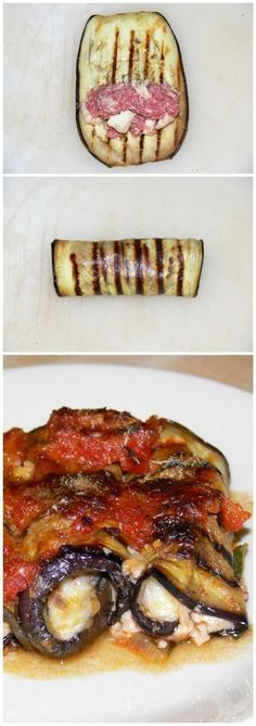 Involtini di melanzane pugliesi con carne macinata, fiordilatte e pomodoro