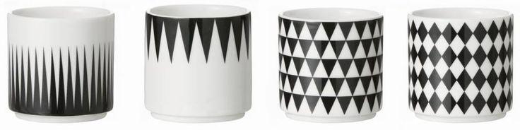 4 schöne Espressotassen aus Porzellan von Ferm Living mit verschiedenen Motiven. Passen optimal zu einander und sind Spülmaschinenfest! Perfekt für Espressol