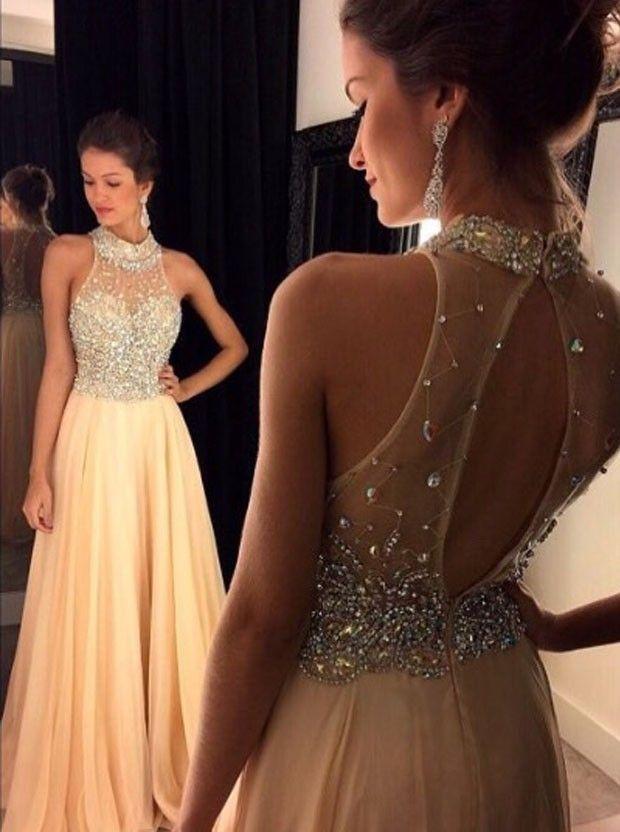 Sexy A-Linie Hoch Ausschnitt Bodenlangen Champagner Abendkleid Ballkleid mit Strass
