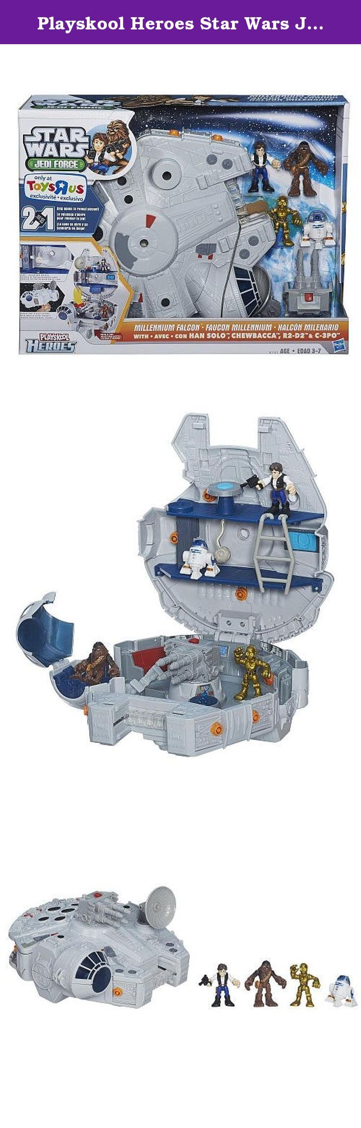 Playskool Heroes Star Wars Jedi Force Millennium Falcon Playset with Han Solo, Chewbacca, C-3PO and R2-D2 Figures. Han Solo and Chewbacca have flown the Millennium Falcon on countless quests for the Rebellion and daring smuggling missions - it's one tough spaceship. After massive upgrades - she can make the Kessel Run in 12 parsecs - this ship is ready to go head-to-head with the evil Empire! Your little Jedi can open this Millennium Falcon playset to reveal the ship within! With its…