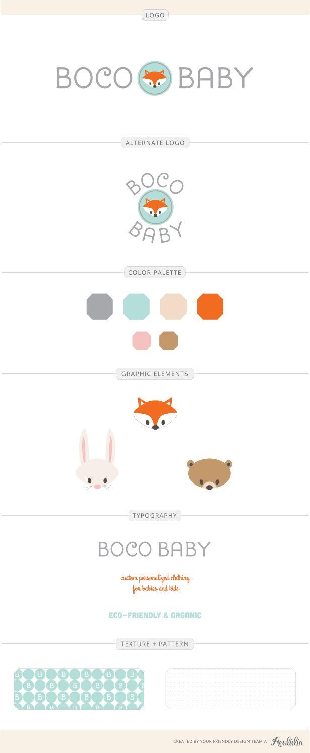 Esse é mais tradicional... Gostei mas já fico um pouco em dúvida... Mas é simples e fofo... Boco Baby's adorable brand identity design by Aeolidia. Bunny! Fox! Bear! Oh my!