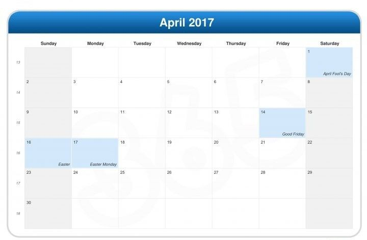 Easter Bank Holidays in 2017