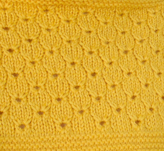 Rabbit face stitch  Row1: (k2tog, s1, k1, and pass the slipped stitch over the 4th knitted stitch, then k4.) Repeat () as many times as necessary.  Row2: purl all stitches  Row3: (put needles between the first 2 stitches of the previous row (row 2), yarn over and pick up a new stitch through the hole.) k2 stitches. Repeat () again through the same hole as the first stitch. K4.  Continue these 8 stitches.  Row4: purl all stitches.  repeat 1-4