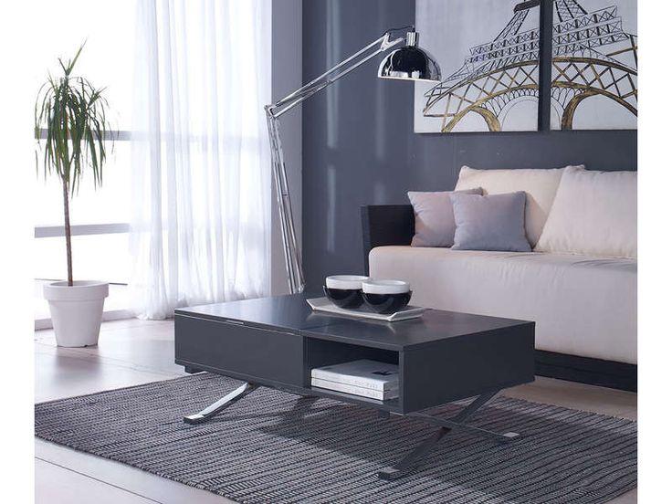Table basse plateau relevable MANILA coloris gris/chrome pas cher prix promo Conforama 239.00 €