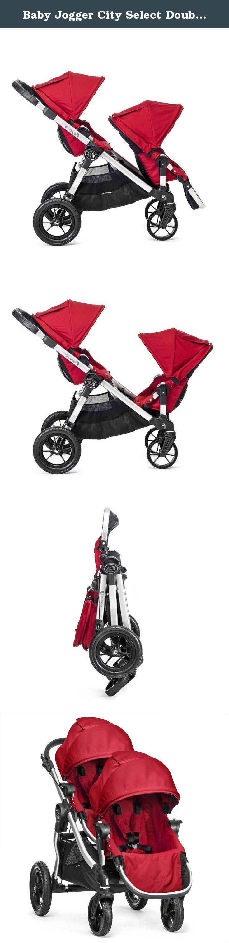 Baby Jogger City Select Double Stroller with Second Seat, Ruby. Whether you're looking for a travel system, a pram, a double stroller, a triple, or just a single, the City Select could be the only stroller you'll ever need. The most versatile stroller on the market today, the City Select was designed to keep your family rolling as it grows from one child to two. Now sold with the Second Seat Kit included, the City Select Double allows parents to mix and match seats, bassinets and car…