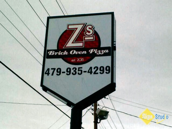 Full Color graphics and a new paint job for Z's Brick Oven Pizza pole sign! - Fayetteville, AR