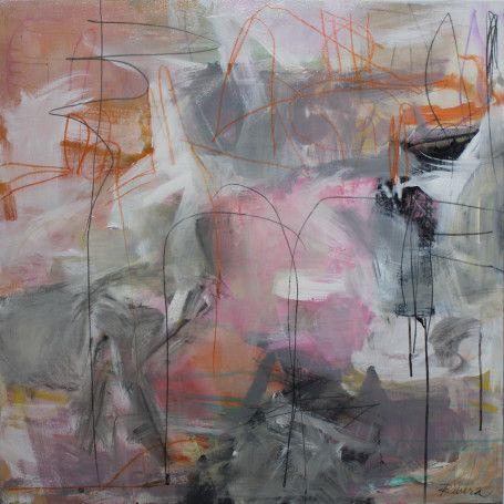 "Jennifer Rivera, ""She Has a Plan"",36"" X 36"", acrylic/graphite/pastel stick on canvas"