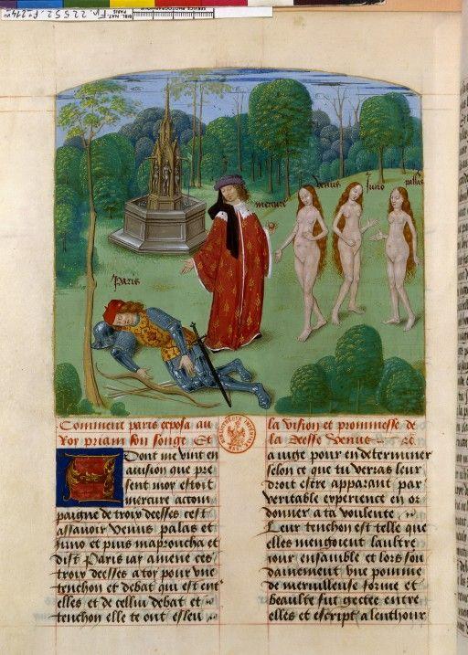 Le Recueil des histoires de Troyes. De la première destruction de Troyes / Le songe de Pâris / Folio 214v.