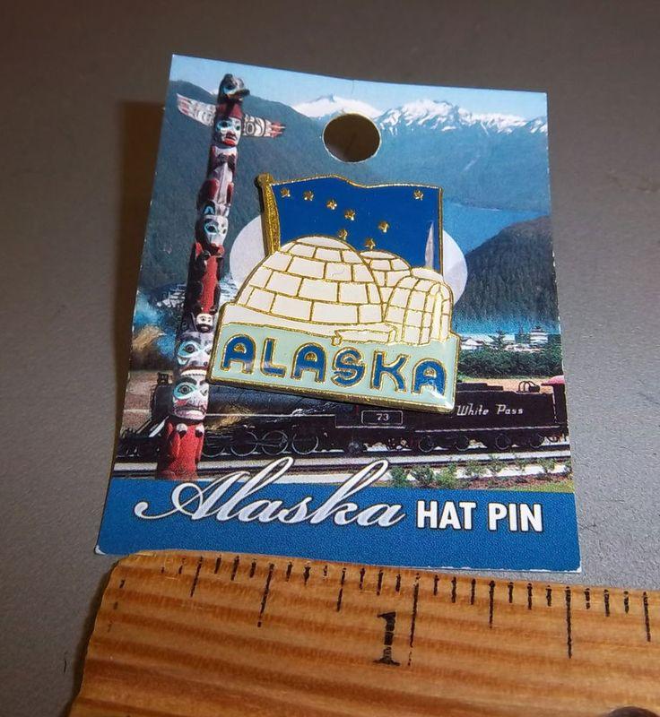 Alaska Major Cities Map%0A Alaska Igloo and Alaska Flag Tie tac Lapel Pin  great collectible