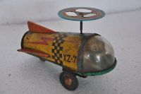 Vintage Xz-7 Wind Up Litho Spacecraft Tin Toy, Collectible.
