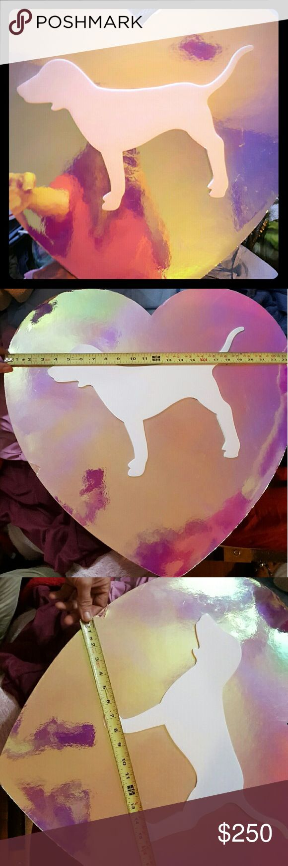 Victoria Secret store display Iridescent Pink heart 2ft x 2 ft approximately PINK Victoria's Secret Other