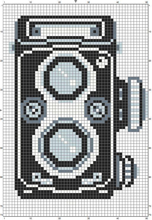 Rollieflex perler bead pattern camera 1227 black 316 dark blue 405 light blue 385 white (if you do edges)