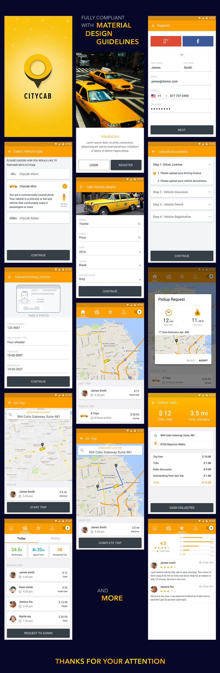 CityCab App is a material designed influenced Android app PSD UI with 40 plus screen grabs. It demonstrates the design of the Uber like taxi app. These designs can be successfully deployed for a similar app and can be a used as a reference material for st…
