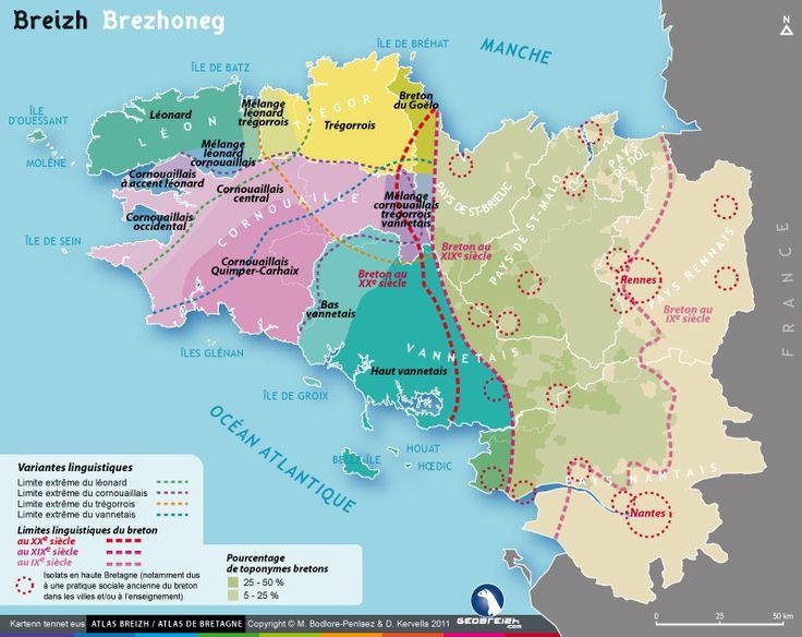 Carte de la langue bretonne (breton) - Bretagne