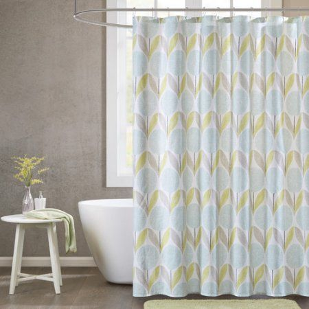 Home Essence Apartment Avon Cotton Printed Shower Curtain, Blue