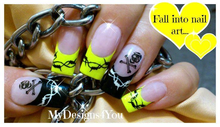 Neon Nail Art | How to Barbed Wire & Skulls ♥ Неоновый Дизайн Ногтей