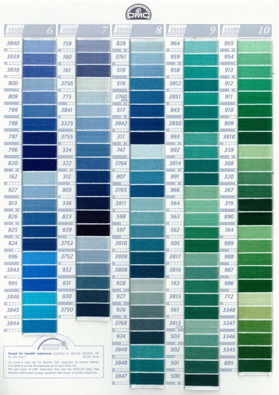 DMC color chart by family.   Embroidery floss, Embroidery ...