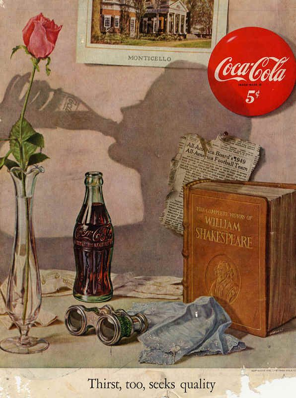 1950 Magazine Ads | Coca-Cola magazine ads from 1950s Thirst, too, seeks quality 1950 ...