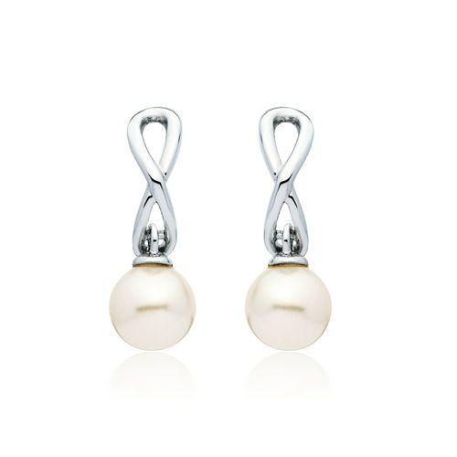 Infinity Hoop Pearl Drop Earrings