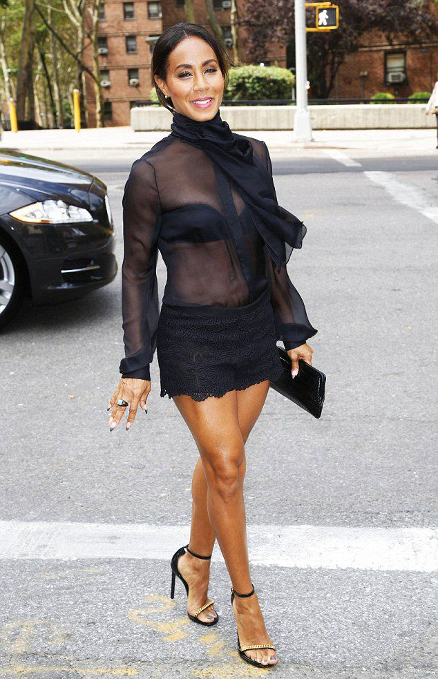 Tuesday, September 9, 2014  Jada Pinkett Smith Stuns in Lace Hot Pants at Dennis Basso Fashion Show