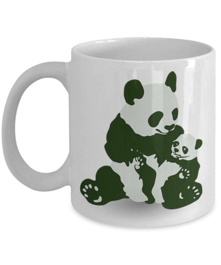 Panda bears mug, panda bear coffee mug, Cup with panda bears, bear mugs, bear coffee mugs, A great gift for Panda Bear lovers.  Travel Mug by BearHugBoutique on Etsy