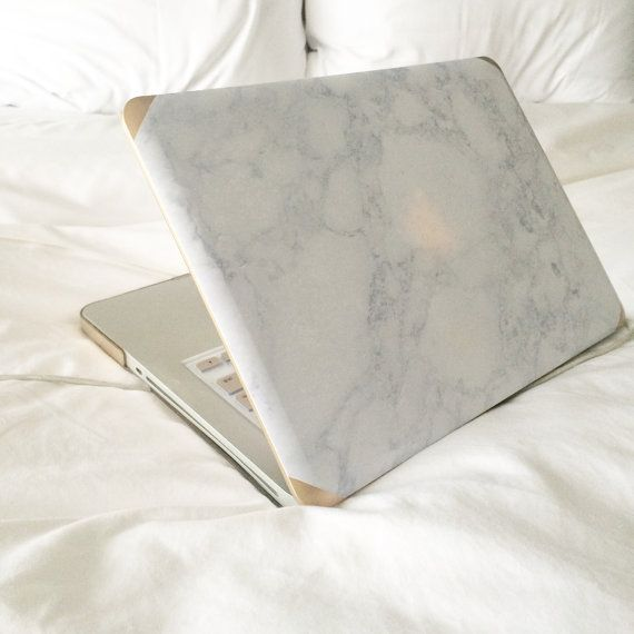 Marble and Gold Mac Book Air 11 13 and Mac by JanetGwenDesigns