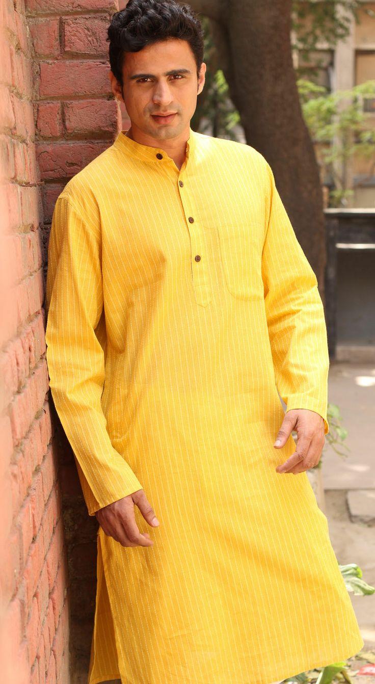 #Yellow Men's long kurta in a bright, sunny yellow. Perfect pick to beat the summer heat.
