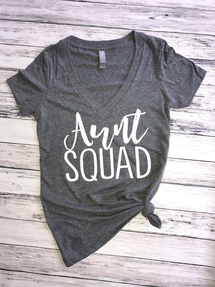 Aunt Squad (v-neck), aunt shirt, auntie squad, aunt squad shirt, auntie bear, new auntie, future auntie, gift for auntie, pregnancy announcement shirt, aunt life, promoted to auntie, Auntie shirt, aunt tank
