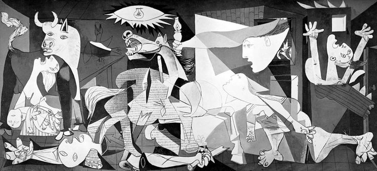 """Cubismo- """"Guernica"""" - Pablo Picasso.  - Achei surpreendente a história dessa obra.   Ocorreu um bombardeio em Guernica, e isso só ocorreu para demonstrar força.   Picasso estava em Paris e ficou sabendo desse bombardeio, então decidiu ilustrar esse momento terrível.  Com isso criou a seguinte frase:   """" Não, a pintura não está feita para decorar casas, está posta como arma de ataque e defesa contra o inimigo""""."""