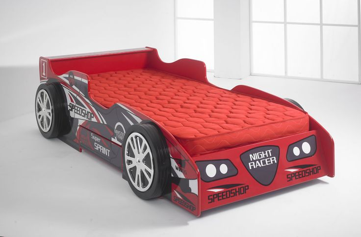 This is a bed which makes bedtime fun for the kids! It is in the form of a racing car, with a spoiler at the headboard end, and four realistic wheels. It is covered in lettering just like the adverts on a real racing car, and even has the practical element of a useful drawer in the side, ideal for storing away all those toys. http://www.chicconcept.co.uk/childrens-beds/3563-kids-red-night-racer-bed-with-red-mattress.html