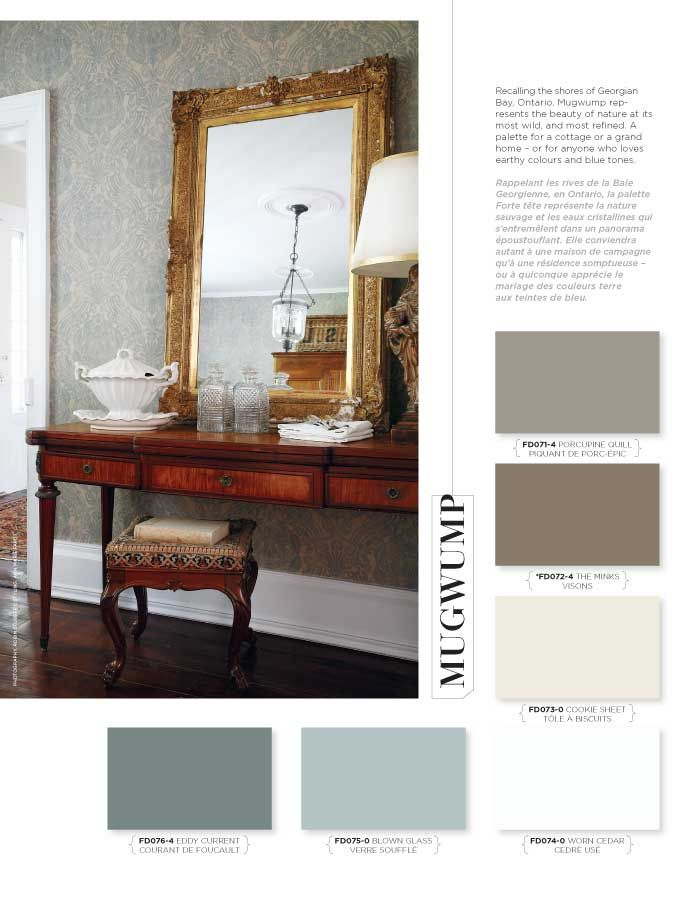 Recalling the shores of Georgian Bay, Ontario, Mugwump represents the beauty of nature at its most wild, and most refined. A palette for a cottage or a grand home – or for anyone who loves earthy colours and blue tones. #BeautiTone #StyleAtHome