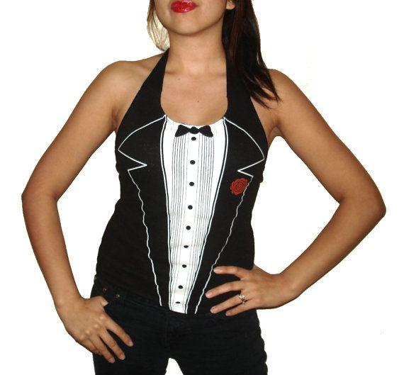 Womens Punk Rock Las Vegas Tuxedo Custom Diy Halter Top / Shirt
