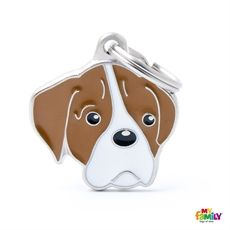Show details for White and Brown Boxer Dog Tag Free engraving  www.myfamily.it