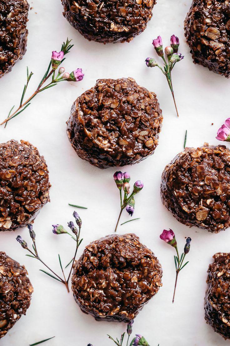 Chocolate Peanut Butter No Bake Cookies   Faring Well   #vegan #glutenfree #recipe