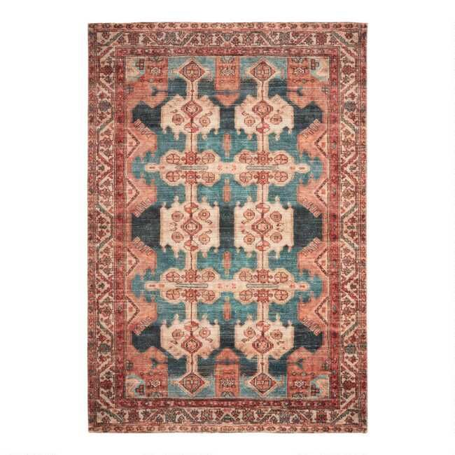 Inspired By Antique Persian Carpets Our Exclusive 6x9 Zara Area Rug Features A Bold Large Scale Print In Coral Peach Rust And Emerald Green