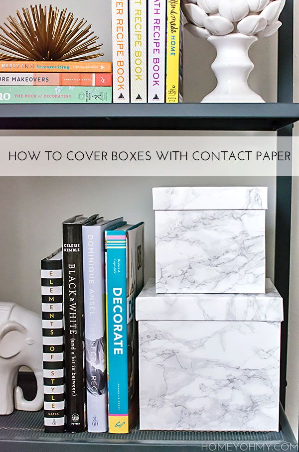Reuse and repurpose boxes for stylish storage with this easy contact paper technique.