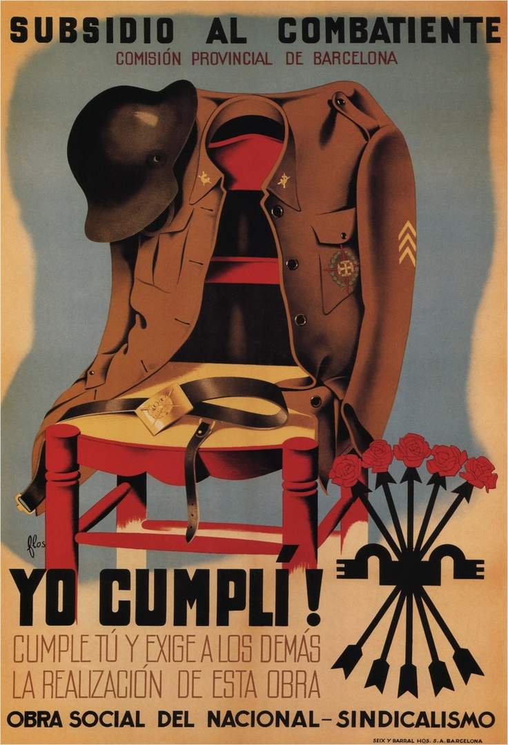 Spanish civil war posters flas subsidies for the nationalist veterans 1940