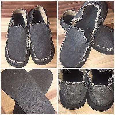 Sanuk Mens Black Canvas Slip On Loafers Boat Shoes Size 10 / 43 | N  | eBay