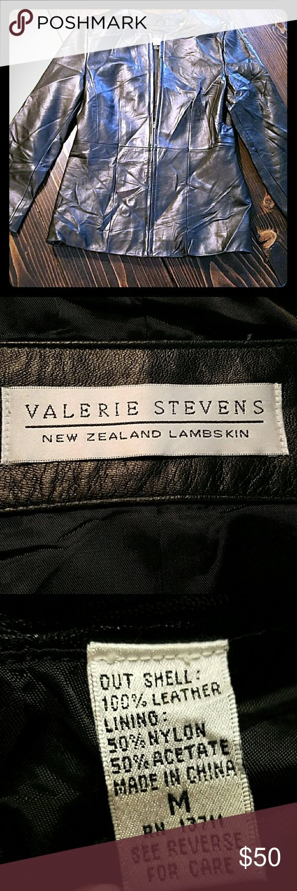 Lambskin leather jacket size m Minor wear. It is wrinkled from being stuffed in daughters closet...sry..steam it or iron it. Top to bottom 26  shoulder 16 waist 17 sleeves approx 23.5 bust approx 18.5. Amazing soft leather jacket. Valerie Stevens Jackets & Coats