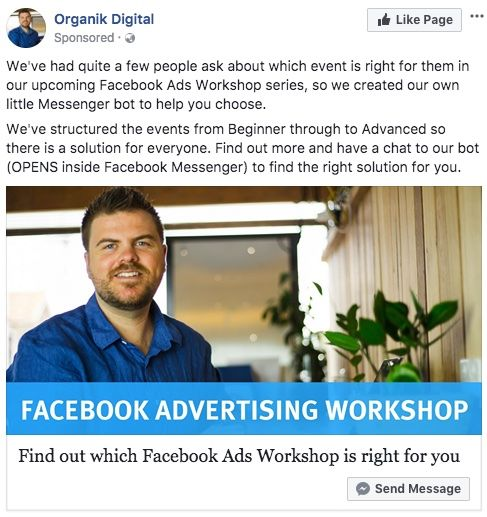 Facebook Ad for Which Facebook Ads workshop are best for you
