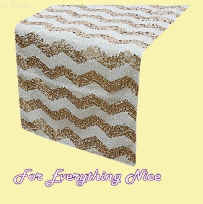 Champagne White Chevron Sequin Wedding Table Runners Decorations x 10 For Hire by JRMB7339 - $160.00