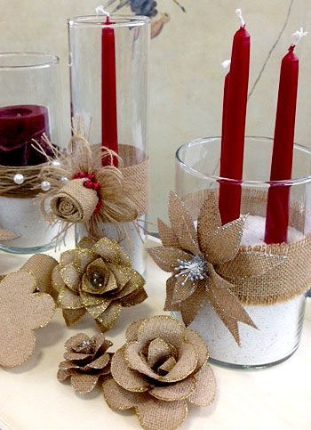 M s de 25 ideas incre bles sobre flores de yute en for Ideas de decoracion navidena