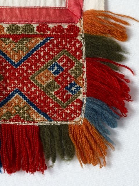 Detail from an apron of Finnish Karelian folk dress. Embroideries. FolkCostume&Embroidery: Rekko costumes of the Karelian Isthmus and Ingria